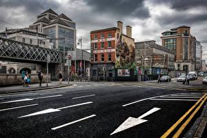 Обои Ирландия Дублин Здания Дороги Улице