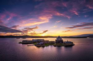 Картинки Ирландия Вечер Рассвет и закат Остров Озеро Церковь Небо Donegal, Lough Derg, St Patrick's Sanctuary Природа