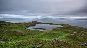 Фото Ирландия Озеро Берег Облачно Donegal, Loch O'Mulligan Природа