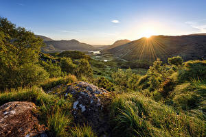Фото Ирландия Гора Парк Камень Солнце Дерева Лучи света Killarney National Park