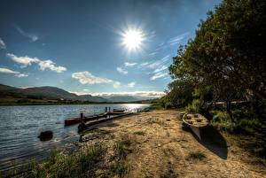 Картинка Ирландия Реки Лодки Небо Деревья Солнце Ardara, Donegal Природа