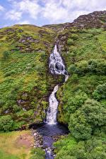 Обои Ирландия Водопады Камни Утес Assaranca Waterfall Природа