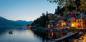 Фотографии Италия Горы Озеро Вечер Альпы Дерева Lombardy, Lake Como Природа