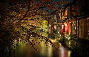 Фото Япония Киото Ветки Ночь Водный канал