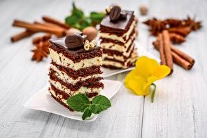 Картинка Пирожное Десерт Шоколад Лист Кусочки