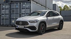 Обои Mercedes-Benz Серебристый Металлик CUV GLA 45 S 4MATIC, Worldwide H247, 2020 авто