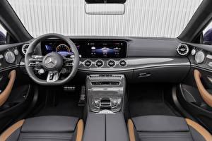 Обои Mercedes-Benz Салоны Рулевое колесо Кабриолета E 53 4MATIC, Cabrio Worldwide, A238, 2020 авто