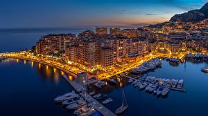 Картинки Монако Монте-Карло Рассветы и закаты Пирсы Катера Яхта город