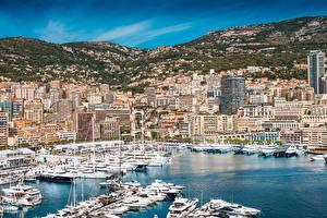 Обои для рабочего стола Монте-Карло Монако Яхта Дома Залива Города