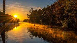 Фото Утро Рассветы и закаты Реки Тумане Лучи света Солнце