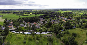 Обои Голландия Дома Река Поля Село Сверху Diepenveen, Provincie Overijssel Города