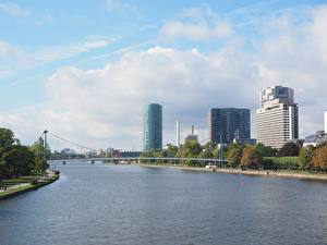 Картинка Реки Мосты Германия Франкфурт-на-Майне Дома Main river город