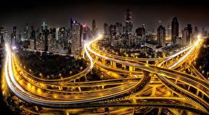 Обои Дороги Китай Шанхай Дома Ночь Мегаполиса Уличные фонари Города