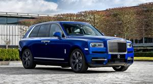 Фотография Rolls-Royce Кроссовер Синих Люксовые Металлик Cullinan, ultra-Lux автомобиль