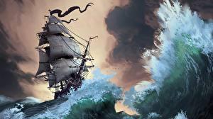 Картинки Корабли Парусные Волны Рисованные Lorenzo Lanfranconi Природа