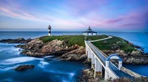 Картинки Испания Море Побережье Маяки Мост Остров Isla Pancha Природа