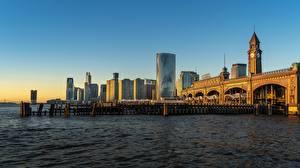 Картинка Рассветы и закаты Пристань Небоскребы Штаты Башня New-Jersey, Hoboken Города