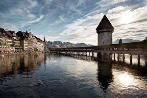 Фотография Швейцария Мосты Река Дома Башни Kapellbrucke, Luzern Города
