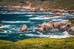 Картинки Штаты Берег Камень Волны Калифорнии Природа