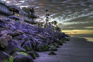 Обои США Дома Берег Вечер Камень Калифорнии HDR Oceanside город
