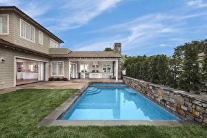 Обои США Дома Калифорния Особняк Дизайна Бассейны Newport Beach город