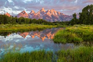 Фото США Парк Озеро Гора Траве Отражении National Park Grand Teton, Wyoming Природа