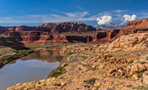 Фотографии Штаты Реки Скале Каньон Облако Colorado River, White Canyon, Utah