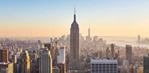 Картинки США Небоскребы Утро Нью-Йорк Мегаполиса Города
