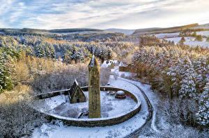 Картинка Великобритания Леса Парк Деревья Снеге Башня Из камня Gortin, Northern Ireland Природа