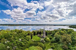 Фотография Великобритания Небо Реки Церковь Облачно Northern Ireland, Magherafelt Природа