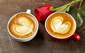 Фотография День святого Валентина Капучино Роза Сердца Чашка Двое Еда