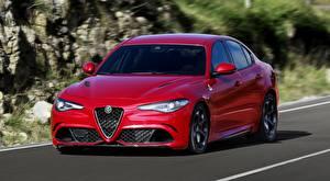 Картинка Alfa Romeo Седан Красных Едущий Металлик Размытый фон Giulia, Quadrifoglio, 2016 Автомобили