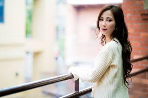 Фотография Азиатки Шатенка Смотрит Размытый фон Свитере Забором молодые женщины