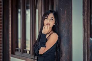 Фотография Азиатка Брюнеток Смотрит Руки Боке Девушки