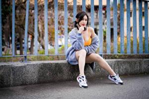 Обои Азиатки Забора Сидит Ноги Смотрят молодая женщина