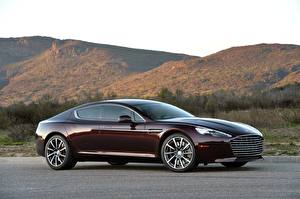 Картинка Aston Martin Сбоку Купе Бордовый Металлик Rapide S, 2019-2020 Автомобили