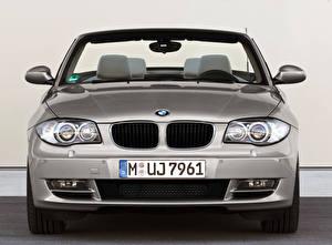 Обои BMW Серебристый Металлик Кабриолет Спереди 123d Cabrio Worldwide, E88, 2008–10 машины