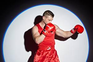 Картинки Бокс Мужчины Поза Рука Перчатки Круги спортивные
