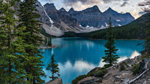 Фото Канада Парки Горы Озеро Деревьев Банф Moraine Lake, Alberta Природа
