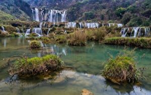 Обои Китай Водопады Камни Kowloon Falls Природа