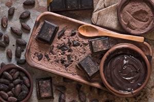 Картинки Шоколад Ложки Какао порошок Масла cocoa bean
