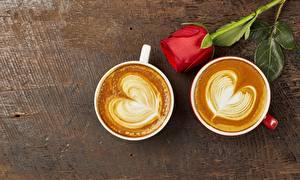 Обои Кофе Капучино Роза Сердечко Чашке 2 Продукты питания