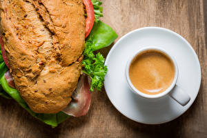 Картинка Кофе Капучино Сэндвич Хлеб Чашка Продукты питания