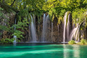 Картинки Хорватия Лес Парк Водопады Plitvička Jezera Природа