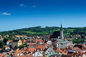 Фотография Чехия Здания Церковь Крыша Chesky-Krumlov, Bohemia город
