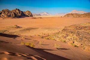 Фото Пустыня Камень Утес Песка Wadi Rum, Jordan Природа
