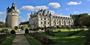Фотография Франция Замки Ландшафтный дизайн Фонтаны Башни Газоне Château de Chenonceau Города