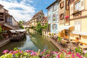 Фото Франция Здания Водный канал Colmar, Alsace