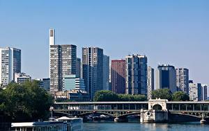 Фотография Франция Дома Река Мост Париж