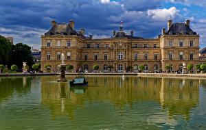 Фотография Франция Пруд Фонтаны Париже Дворца Luxembourg Gardens город